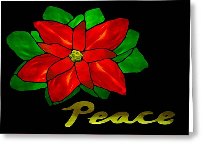 Christmas Card Glass Greeting Cards - Peace Poinsettia Greeting Card by Wendy Rickwalt