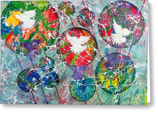 Peace Shadows The World Greeting Card by David Raderstorf