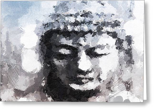 Peaceful Buddha- Art By Linda Woods Greeting Card by Linda Woods