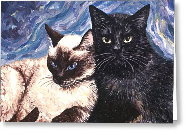 Kittens Greeting Cards - Peaceful Coexistence Greeting Card by Linda Mears