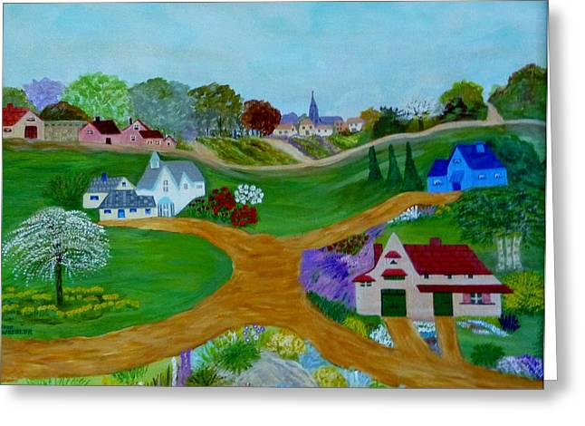 Peaceful Country Lanes Greeting Card by Anke Wheeler