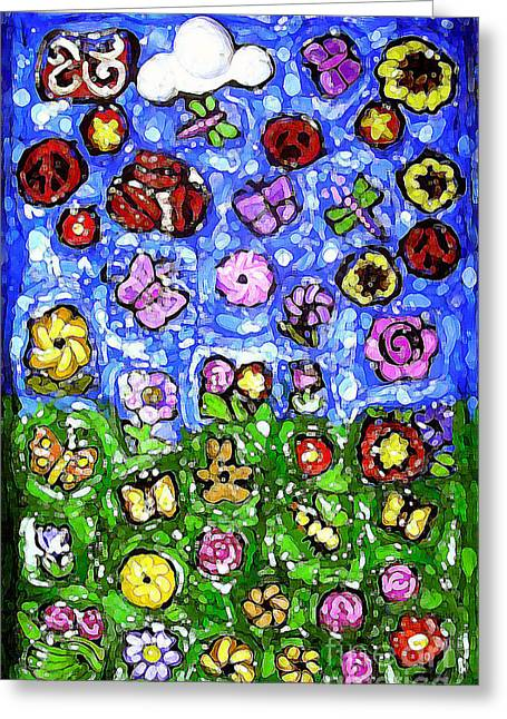 Abstract Digital Mixed Media Greeting Cards - Peaceful Glowing Garden Greeting Card by Genevieve Esson
