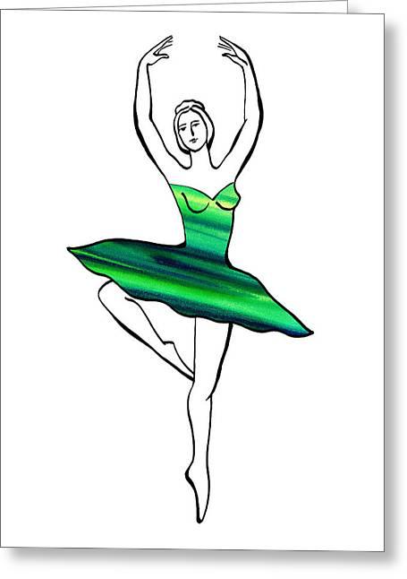 Dancing Girl Greeting Cards - Peaceful Green Dance Greeting Card by Irina Sztukowski