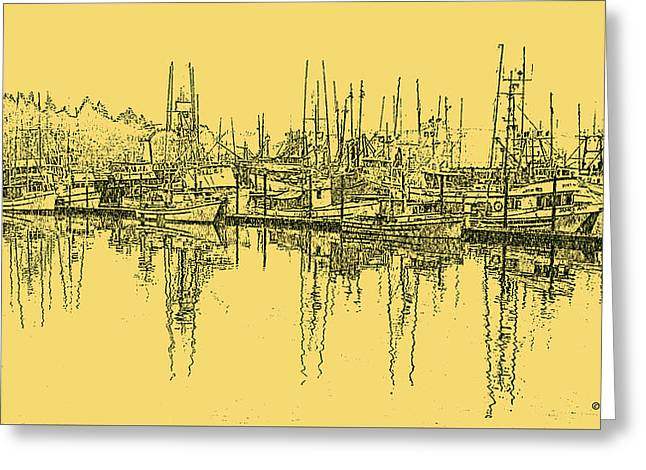 Yellow Sailboats Greeting Cards - Peaceful harbor Greeting Card by John Horne