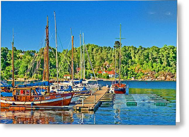 Norwegian Landscape Greeting Cards - Peaceful Harbor - Langensun Fjord  Greeting Card by Bill Morgenstern