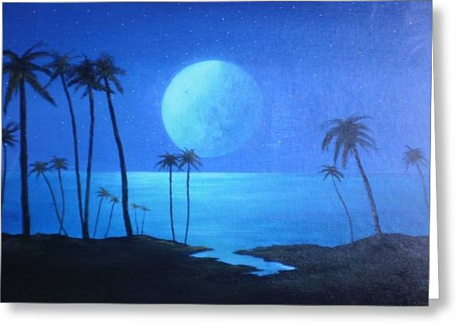 Sea Moon Full Moon Greeting Cards - Peaceful Moonlit Night Greeting Card by Michael Odom