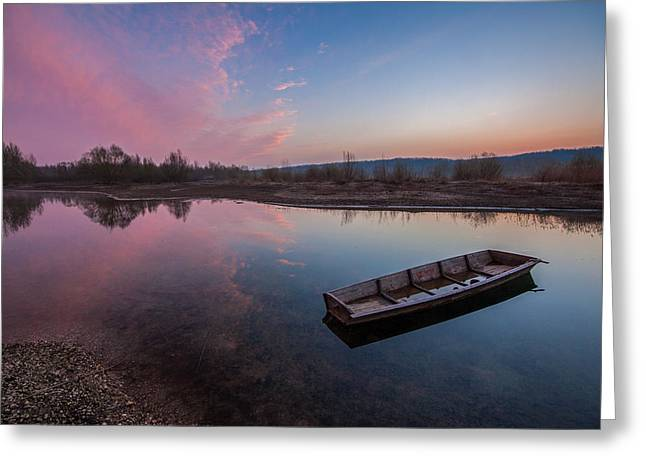 Riverscapes Greeting Cards - Peaceful morning at river Greeting Card by Davorin Mance