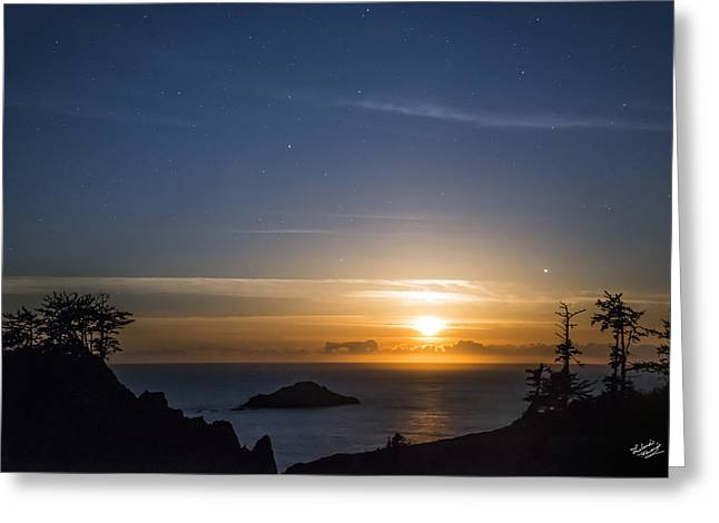Peaceful Ocean Moon Greeting Card by Leland D Howard
