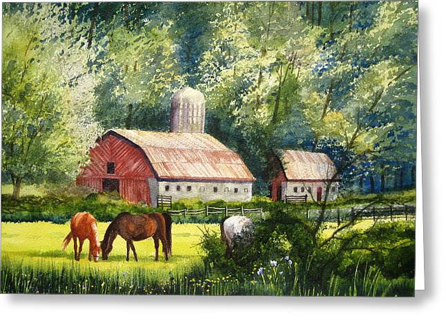 Barn North Carolina Greeting Cards - Peaceful Pasture Greeting Card by Shirley Braithwaite Hunt