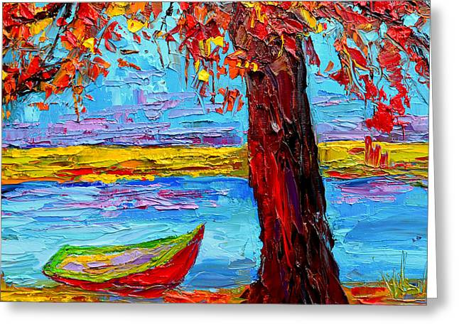 Peaceful Retreat - Modern Impressionist Knife Palette Oil Painting Greeting Card by Patricia Awapara
