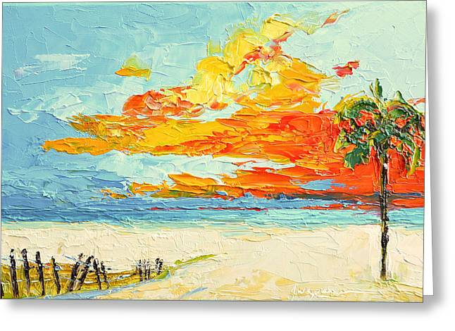 Peaceful Sunset At The Beach - Modern Impressionist Knife Palette Oil Painting Greeting Card by Patricia Awapara