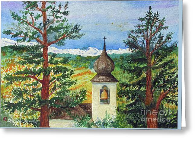 Peaceful Valley Bell Tower Greeting Card by Donlyn Arbuthnot