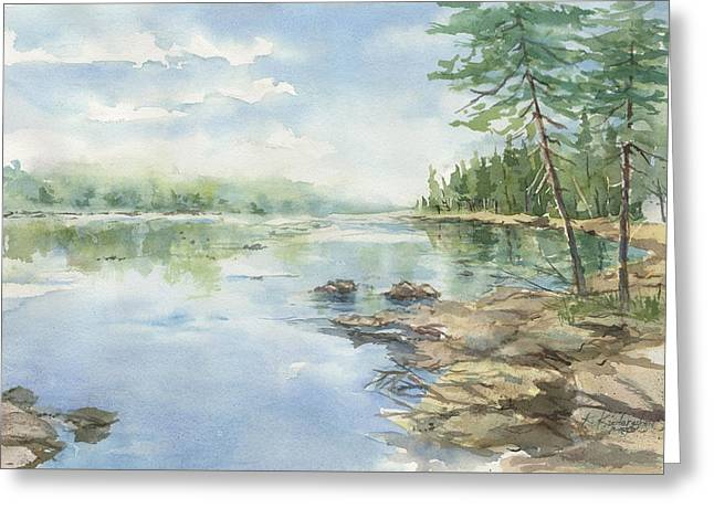 Boundary Waters Mixed Media Greeting Cards - Peaceful Waters Greeting Card by Kerry Kupferschmidt