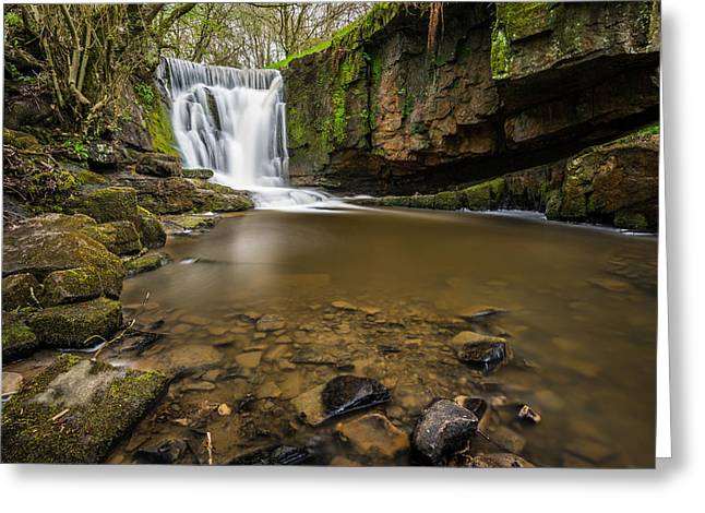Woodland Scenes Greeting Cards - Peaceful Woodland Flowing Waterfall. Greeting Card by Daniel Kay