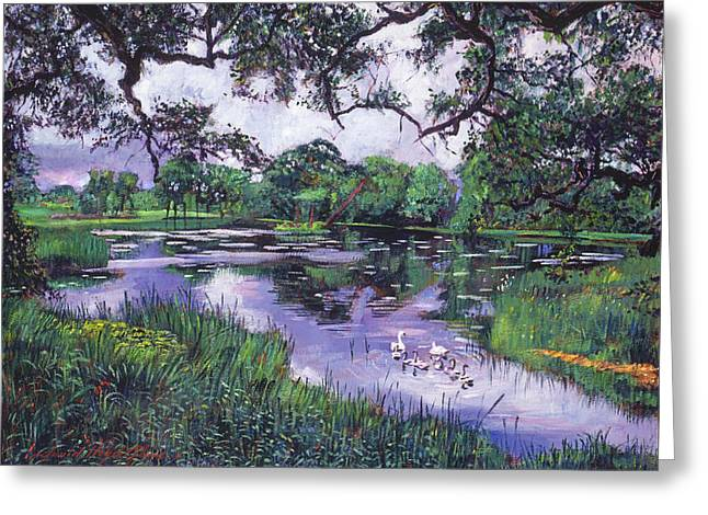 Water Fowl Greeting Cards - Peacefull Lake Greeting Card by David Lloyd Glover