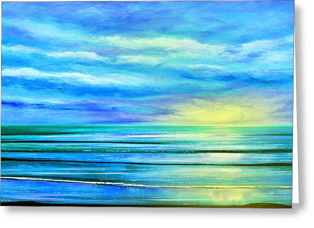 Panoramic Ocean Greeting Cards - Peacefully Blue - Panoramic Sunset Greeting Card by Gina De Gorna