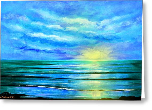 Panoramic Ocean Greeting Cards - Peacefully Blue - Seascape Sunset Greeting Card by Gina De Gorna