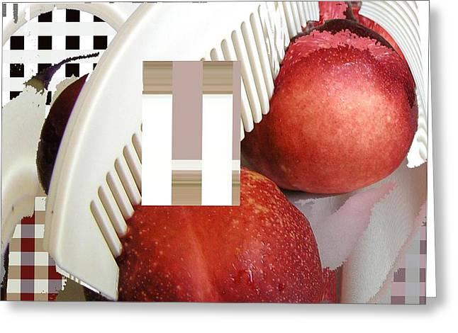 peach and haircomb Greeting Card by Evguenia Men