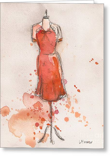 Loose Watercolor Greeting Cards - Peach and Orange Dress Greeting Card by Lauren Maurer