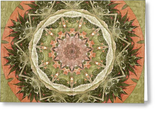 Olive Green Greeting Cards - Peach and Sage Abstract Greeting Card by Bonnie Bruno
