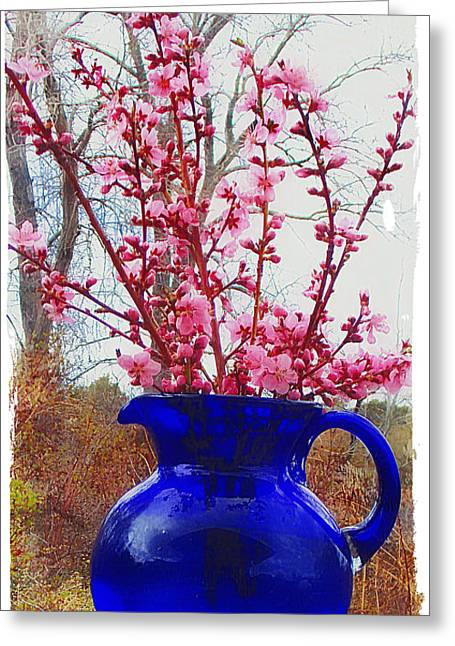 Still Life With Pitcher Greeting Cards - Peach Blossoms and Blue Pitcher El Valle Greeting Card by Anastasia  Ealy