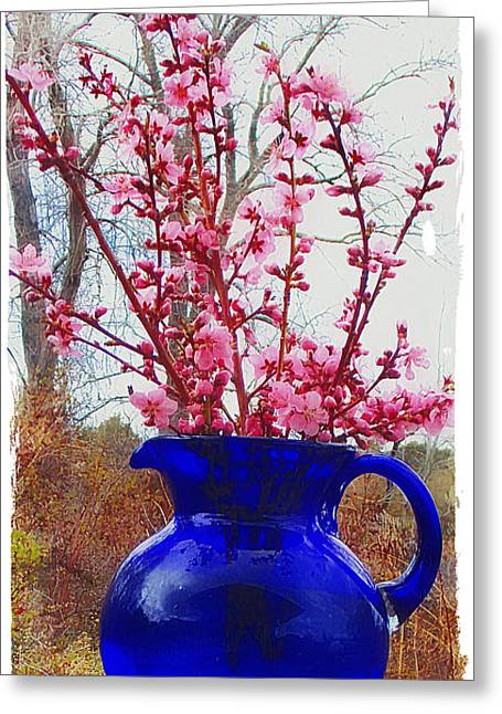 Still Life With Pitcher Greeting Cards - Peach Blossoms Blue Pitcher I Greeting Card by Anastasia  Ealy