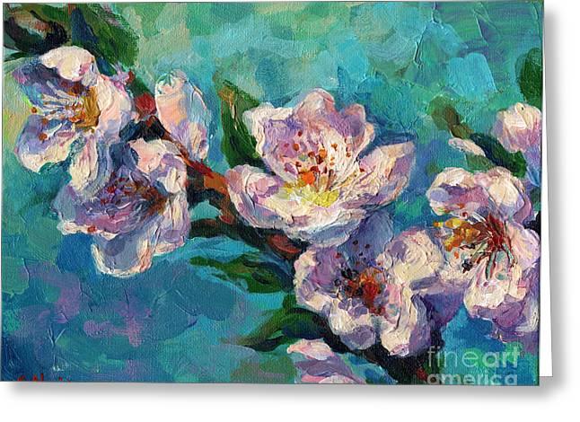 Peach Flower Greeting Cards - Peach Blossoms flowers painting Greeting Card by Svetlana Novikova