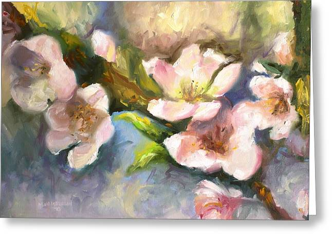 Fruiting Greeting Cards - Peach Blossoms Greeting Card by Melissa Herrin