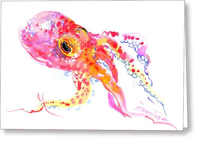 Peach Color Octopus Greeting Card by Suren Nersisyan