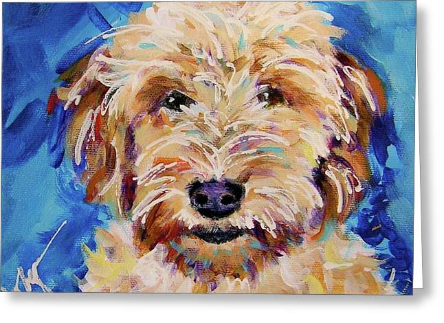 Goldendoodle Greeting Cards - Peach Queen Greeting Card by Judy  Rogan