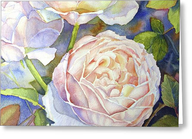 Library Greeting Cards - Peach Roses Greeting Card by Bonnie Rinier