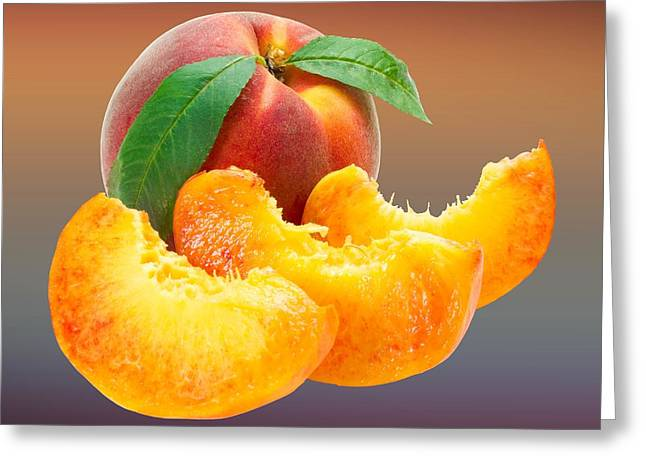 Peach Drawings Greeting Cards - Peach Sliced  Greeting Card by Movie Poster Prints