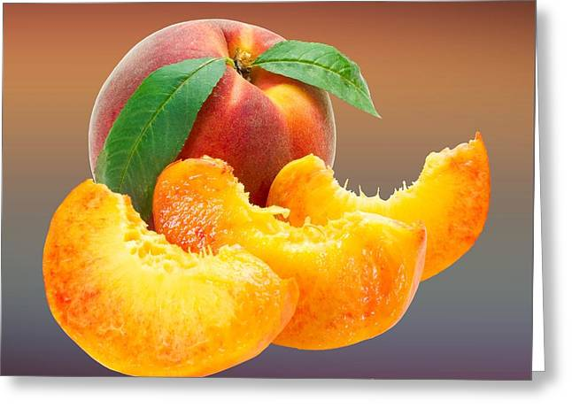 Peach Drawings Greeting Cards - Peach Slices Customized  Greeting Card by Movie Poster Prints