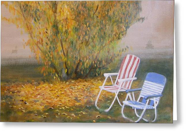 Lawn Chair Greeting Cards - Peach Tree And Winter Fog Greeting Card by Howard Stroman