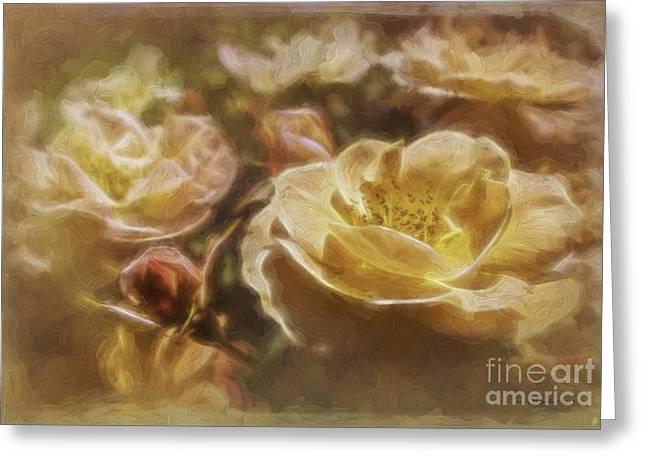 Rose Petals Greeting Cards - Peach Yellow Roses Greeting Card by Jean OKeeffe Macro Abundance Art