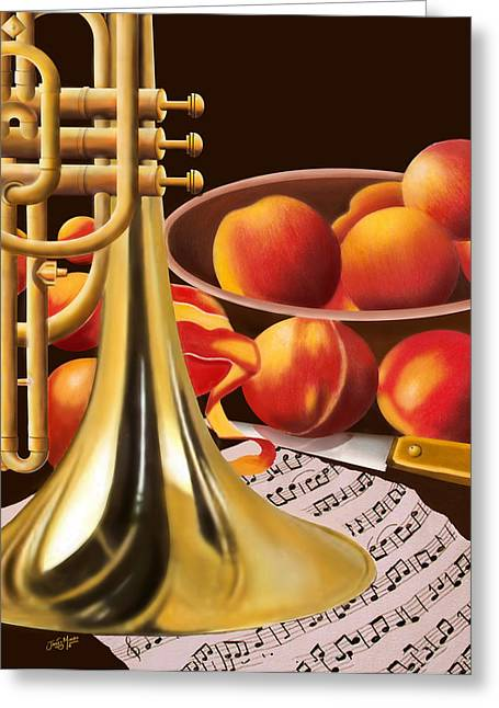 Peaches And Horn Greeting Card by James  Mingo