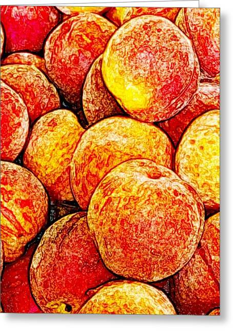 Peach Drawings Greeting Cards - Peaches Greeting Card by Blackwater Studio
