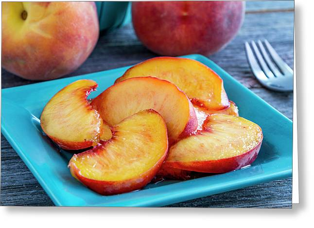 Peaches For Lunch Greeting Card by Teri Virbickis