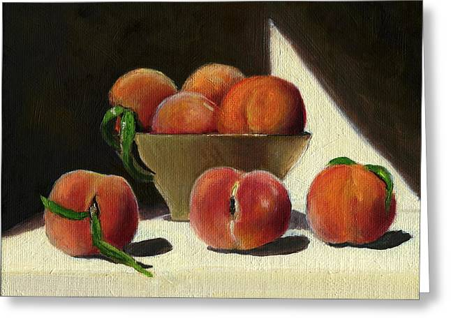 Still-life With Peaches Greeting Cards - Peaches Greeting Card by Karyn Robinson