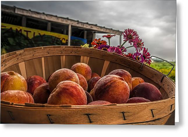 Farm Stand Greeting Cards - Peaches Greeting Card by Maria Coulson