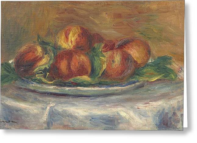 Peaches On A Plate Greeting Card by Auguste Renoir