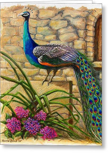 Yvonne Ayoub Greeting Cards - Peacock at Evangelistria Greeting Card by Yvonne Ayoub