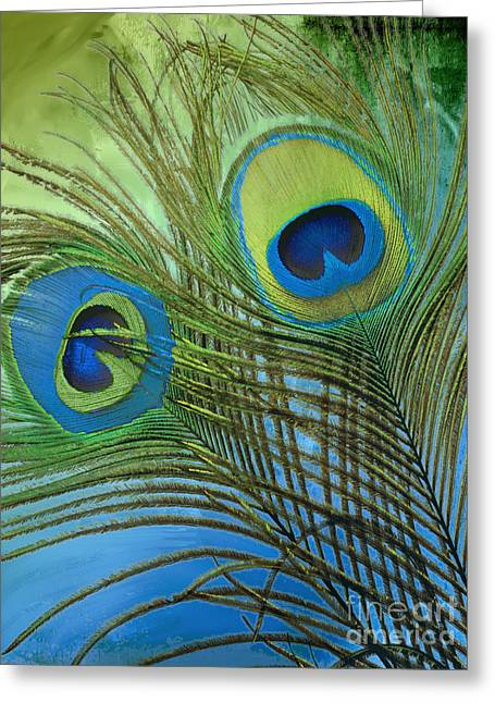 Peafowl Greeting Cards - Peacock Candy Blue and Green Greeting Card by Mindy Sommers