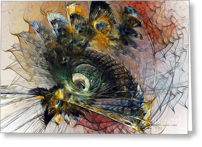 Peacock Fan Greeting Card by Karin Kuhlmann
