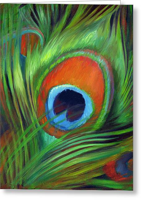 Tail Feather Greeting Cards - Peacock Feather Greeting Card by Nancy Tilles