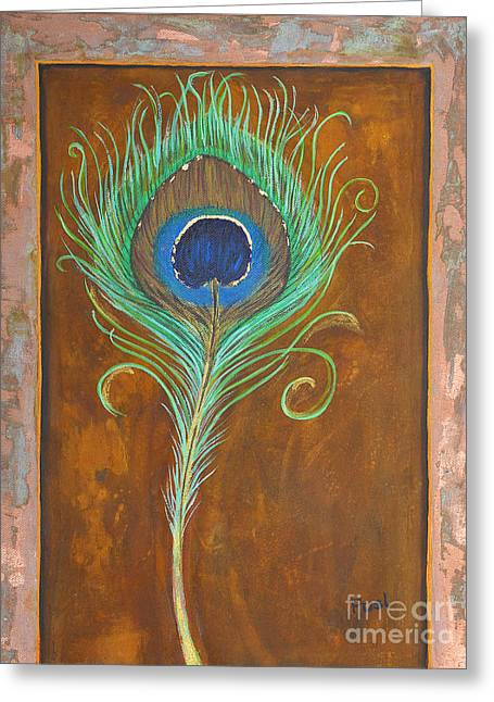 Acrylic On Stretched Canvas Greeting Cards - Peacock Feather on Rust Greeting Card by Jutta Maria Pusl