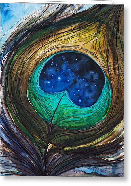 Abstract Expression Greeting Cards - Peacock Feather Greeting Card by Tara Thelen