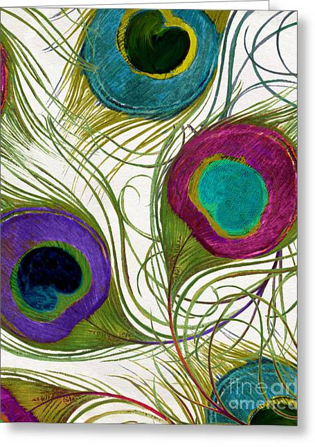 Fuschia Greeting Cards - Peacock Feathers Greeting Card by Mindy Sommers