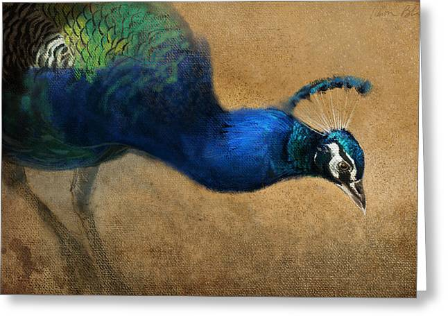 Peacock Light Greeting Card by Aaron Blaise