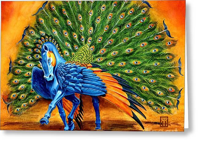 Peacock Pegasus Greeting Card by Melissa A Benson